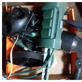 flat of outdoor timing spot lights, walkie talkies