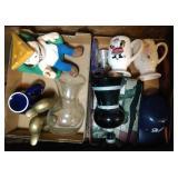 2 flats of coffee mugs, bronze duck bookends,