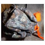 large box of hunting clothes including camo, Blaze