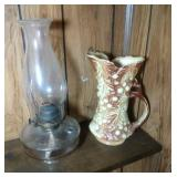 glass oil lamp with hurricane (13 inch) & McCoy
