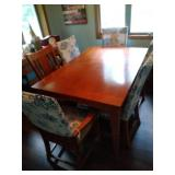 Dining table, 6 chairs, leaf and chair covers