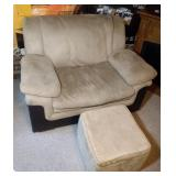 oversized chair, ottoman and 2 Packers blankets