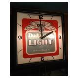 1982 Bud Light lighted clock - 14 inch square