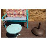 2 person bench, cushions, small table and