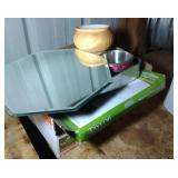 beveled octagonal mirror, 2 bathroom scales and