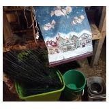 tote of outdoor decor fencing, shephard hooks with