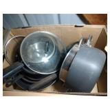 2 cast iron skillets and Wearever cookware