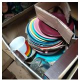 2 boxes of Fiesta Ware and other dishes