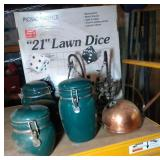 box with canister set, 21 inch lawn dice, candle