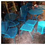 9 piece blue patio furntire set - 4 chairs, 2 low