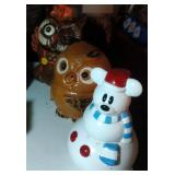 lot of 3 cookie jars - snowman and 2 owls