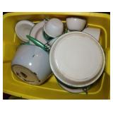 tote of approx 15 pieces of enamelware