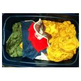 tote of linens and towels