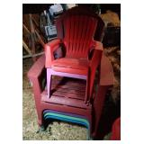 lot of 6 plastic chairs - 4 adult and 2 children