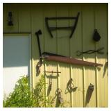 antique tools on side of pole shed - lot of 13