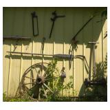 antique tools on side of pole shed -  12 pieces