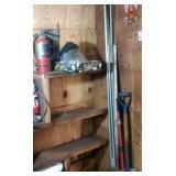 contents of corner - fire extinguisher, braces,