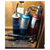 torch kit, 2 cans of propane, 1 can of oxygen