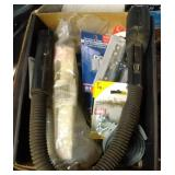 box of misc - snake light, light bulbs, dowel pins
