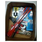 flat of hack saw and jig saw blades & crimpers