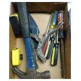 flat of hand tools - hammer, screwdrivers and