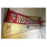 2 pennants - Wisconsin Badgers & Milwaukee