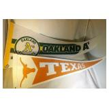 2 pennants - Texas with pin (24 inch) & Oakland