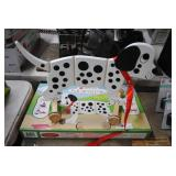 new wooden pull behind toy - dalmation