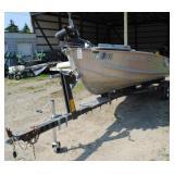 14 Foot Aluminum Semi-V Boat w/9.5HP Johnson