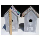 2 Birdhouses - NY & CA License Plate Roof