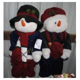 "Plush Mr and Mrs Snowman Figures 28"" Tall"