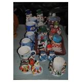 LOT-Snowman Mugs,Cookie Jar,Candles,S/P