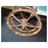 2 cast iron implement wheels