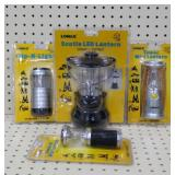 (3) Lomax Lanterns (1) Flip-n-Light Flash Light