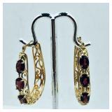 Gold-Plated Sterling Silver Garnet Earrings