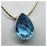 10K Yellow Gold Blue Topaz Necklace