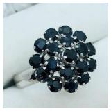 Sterling Silver Sapphire  Ring (~Size 7)