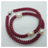 SS Clasp Garnet Freshwater Pearl  Necklace