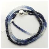 SS Clasp Sapphire Beads 4.80Ct  Necklace