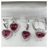 Sterling Silver Pendant,Earrings,Ring  Set