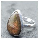Sterling Silver Ammolite Ring (~Size 7)