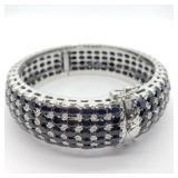 Sterling Silver Dark Blue Sapphires  Bracelet
