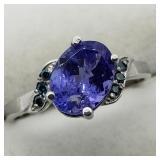 10K White Gold Tanzanite Blue Diamond Ring
