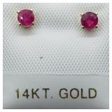 14K Yellow Gold Burmese Ruby Earrings
