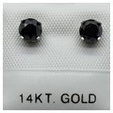 14K White Gold Black Diamond Earrings