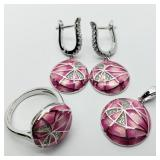 Sterling Silver Enamel Earrings, Pendant & Ring