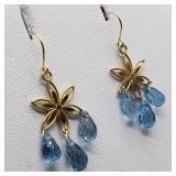 14K Yellow Gold Blue Topaz 4.7 Ct  Earrings