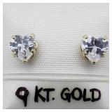 9K Yellow Gold Heart Shaped CZ Earrings