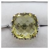 Rhodium Plated Lemon Topaz Ring