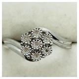 Sterling Silver 7 Diamond  Ring